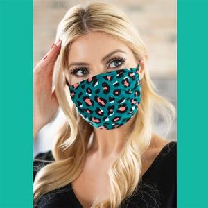 Accessories - Teal Leopard Print Face Mask